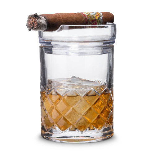 Godinger Whiskey & Cigar Gift Set - Includes Rocks Glass with Cigar Ashtray