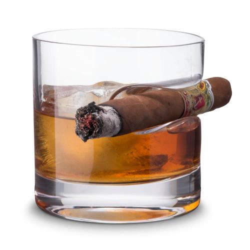Godinger Cigar Whiskey Rocks Glass - 12 oz - With Indented Cigar Rest