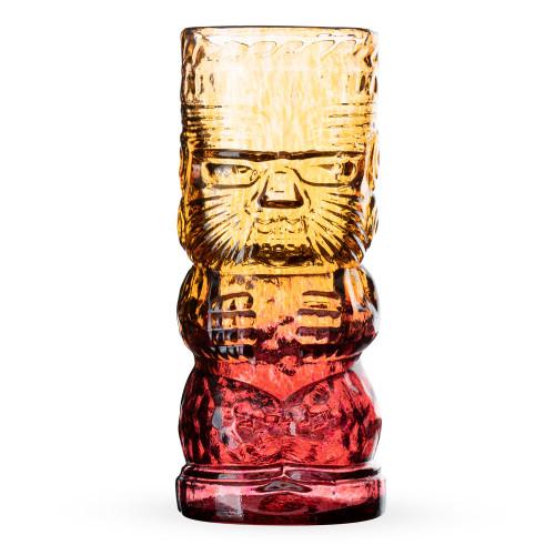 Warrior Lava Red Handcrafted Mold Blown Glass Tiki Mug - 16 oz