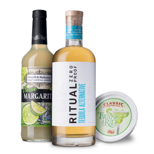 Non-Alcoholic Margarita Cocktail Kit - Includes Tequila Alternative, Mixer & Salt