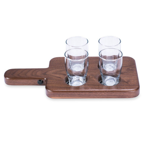 LED Beer Tasting Flight Set - Walnut Serving Paddle with 4 Glasses