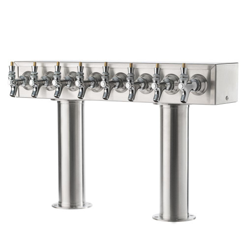 """Double Pedestal Draft Beer Tower - Stainless Steel - 3"""" Column - Air Cooled - 6 to 12 Faucets"""