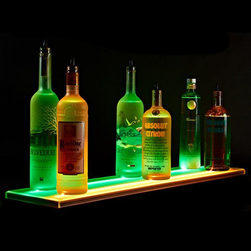 Double Wide LED Lighted Liquor Bottle Display Rail On