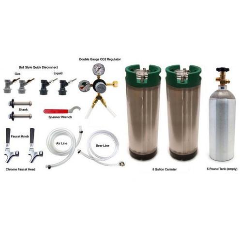 Homebrew Kegerator Conversion Kit - 2 Faucets - 2 Ball Lock Kegs - 5lb CO2 Tank
