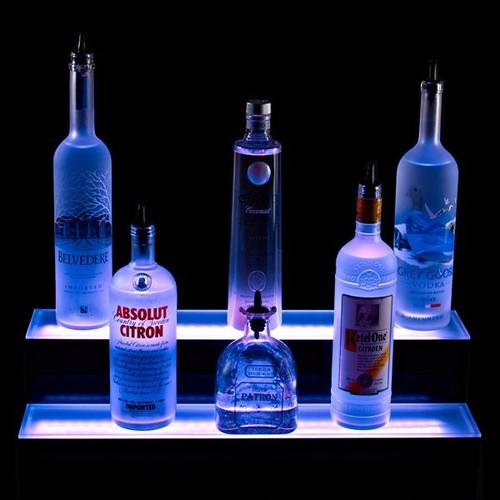 2 Tier LED Lighted Liquor Bottle Display Shelf Blue On