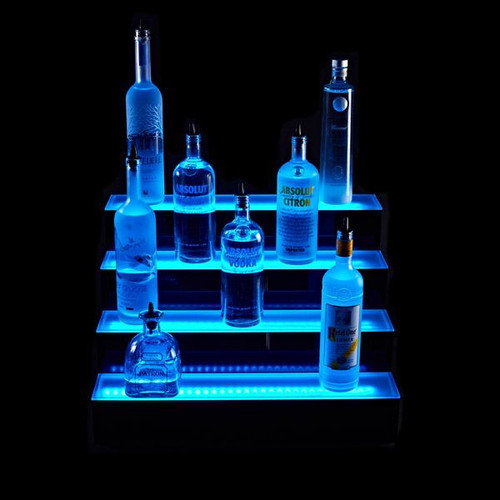 Four Tier LED Lighted Liquor Bottle Display Shelf
