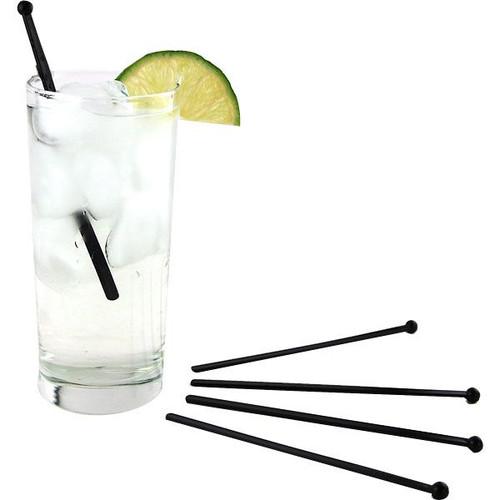 "6"" Black Flat Plastic Cocktail Stir Rods"
