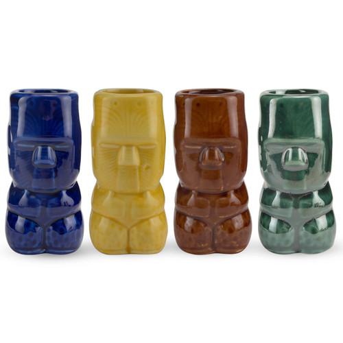 Ceramic Tiki Shot Glass Set - 2 oz - 4 Pieces