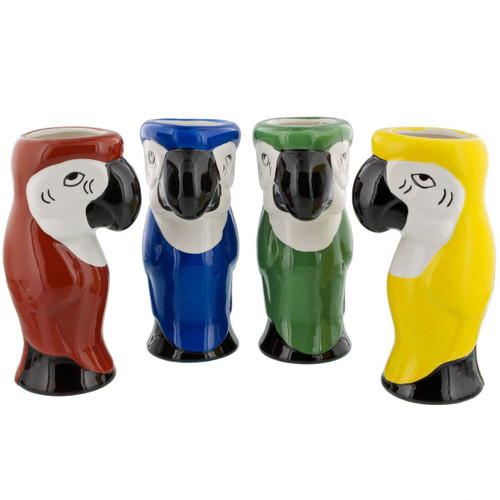 Parrot Ceramic Tiki Mugs - 16 oz - Set of 4 Assorted Colors