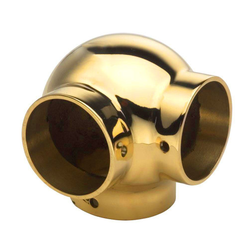 "Ball Side Outlet Elbow - Polished Brass - 1.5"" OD"