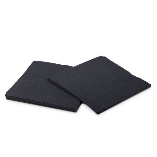 Cocktail Beverage Napkins - 1/4 Fold - Black - 2-Ply - Pack of 250