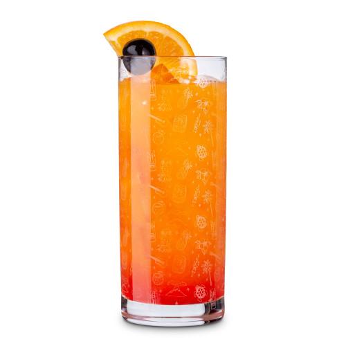 Urban Bar Tiki Pattern Highball Cocktail Glasses - Set of 6 - 10 oz