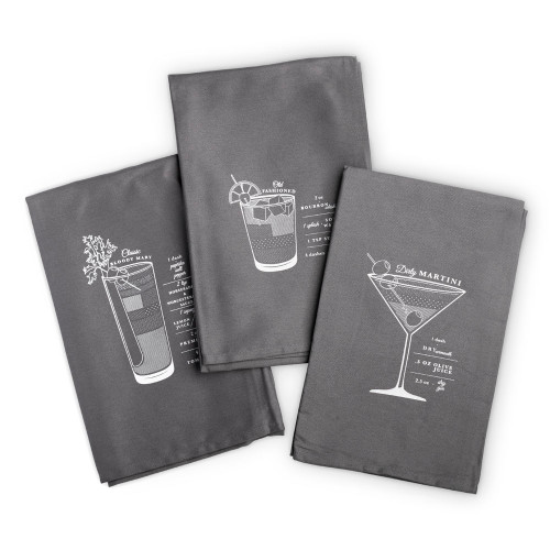 Viski Bar Cart Cocktail Bar Towels - Set of 3