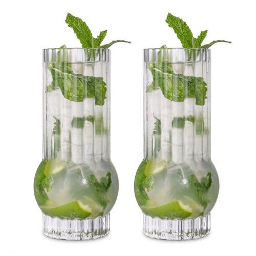 Viski Deco Crystal Highball Cocktail Glasses - Set of 2 - 13 oz
