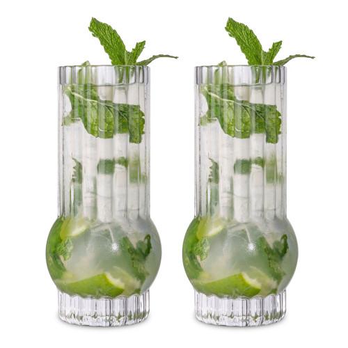 Viski Deco Crystal Highball Cocktail Glasses - Set of 2 - 13 oz