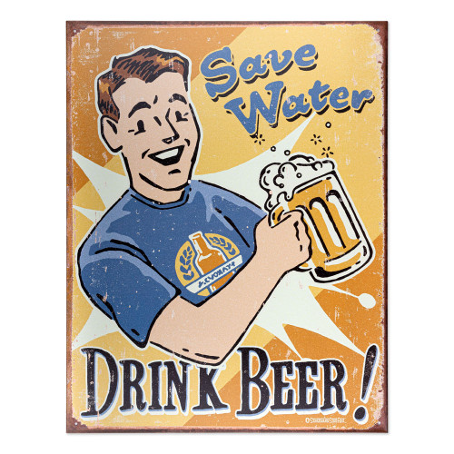 Save Water Drink Beer Metal Bar Sign