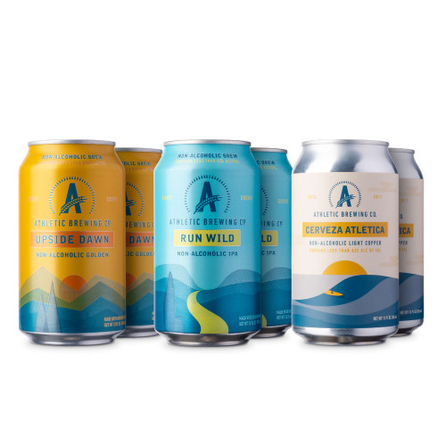 Athletic Non-Alcoholic Beer Sampler 6 Pack - 12 oz Cans - Golden Ale, IPA & Mexican Cerveza