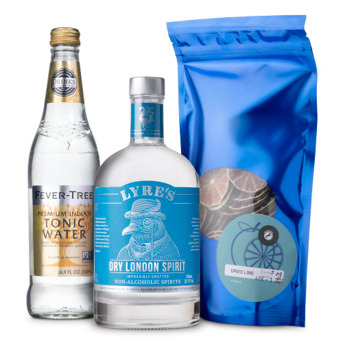 Dry Gin & Tonic Non-Alcoholic Cocktail Kit - Includes Gin Alternative, Tonic Water & Limes