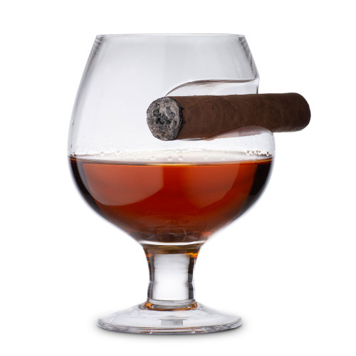 The Cigar Czar Cognac Glass - Brandy Snifter with Cigar Rest - 11 oz