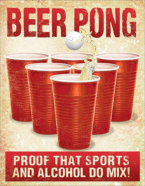 Beer Pong Metal Bar Sign