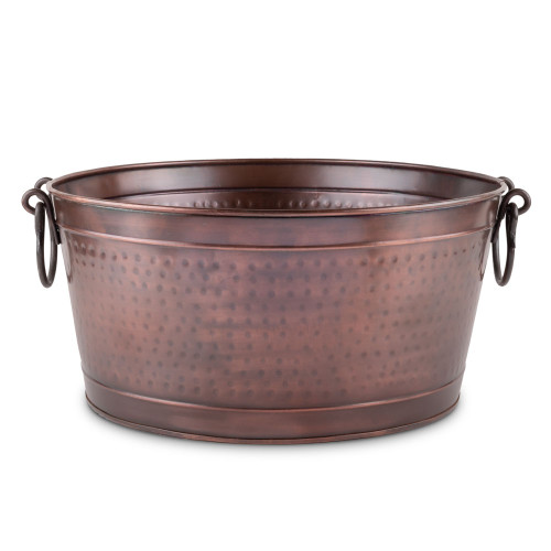 Antique Copper Hammered Oval Beverage Tub