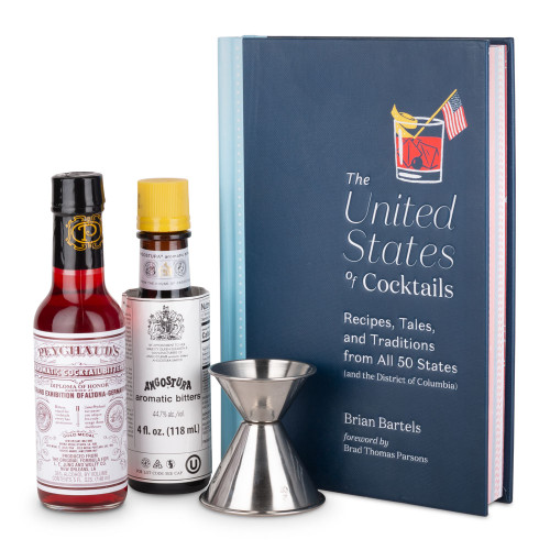 The United States of Cocktails Signed Book Gift Set with Bitters & Jigger
