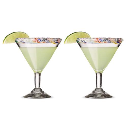 Hand-Blown Margarita Glasses with Confetti Colored Rims - 12 oz - Set of 2