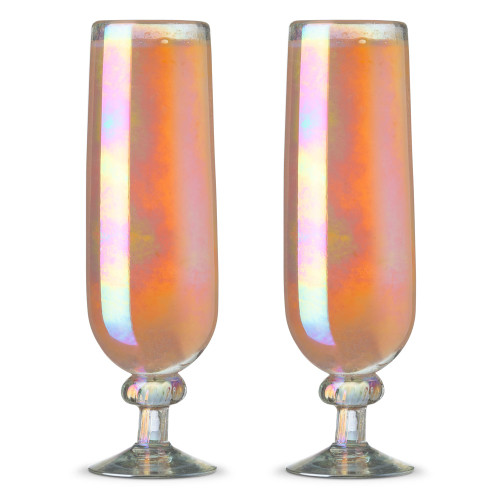 Hand-Blown Fluted Pearl Champagne & Mimosa Glasses - 6 oz - Set of 2