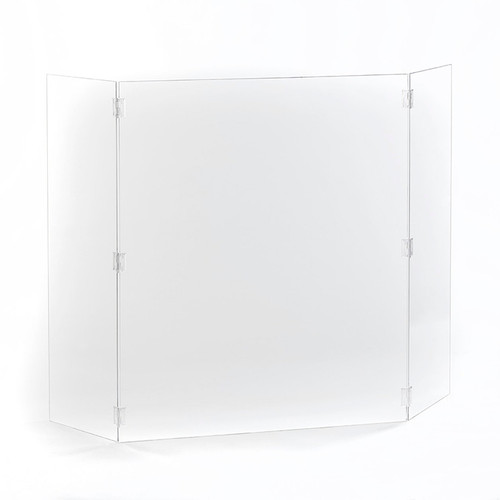 "Hinged Free-Standing Protective Clear Acrylic Shield - 28""W x 34""H"