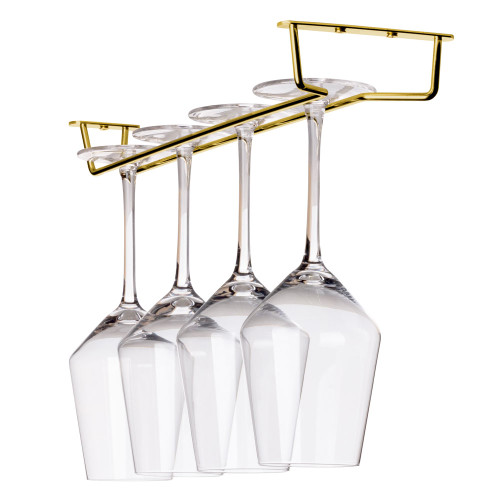 "Glass Hanger Rack - Aged Gold Finish - 16""L"