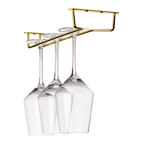 "Glass Hanger Rack - Aged Gold Finish - 12""L"