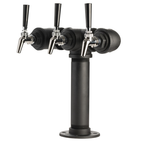 Draft Beer Tower - Black Iron - Triple Tap - Perlick 630SS Faucet