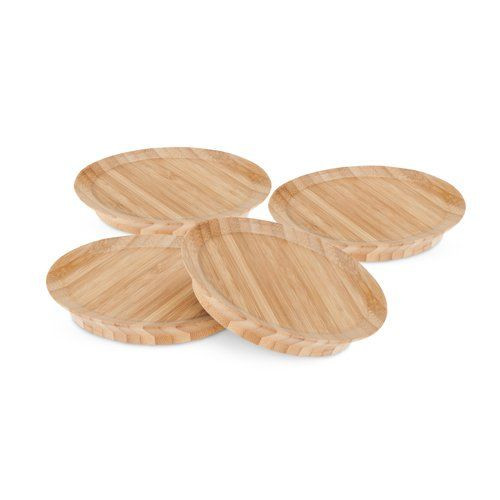 Bamboo Appetizer Glass Toppers - Set of 4