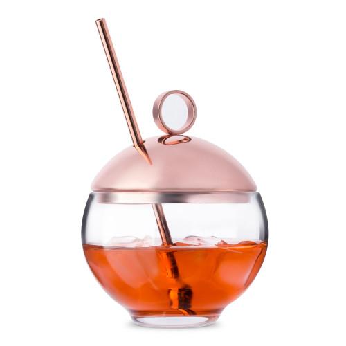Nude Glass Hepburn Alchemy Cocktail Glass with Metal Lid & Straw - 9.25 oz