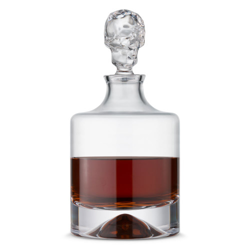 Nude Glass Shade Handmade Crystal Whiskey Decanter with Skull Stopper - 42 oz