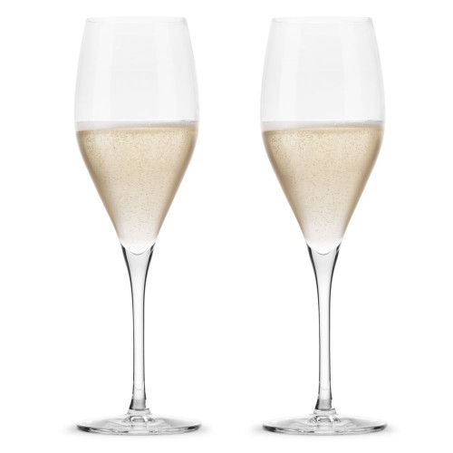 Nude Glass Vintage Rounded Crystal Champagne Glasses - 12 oz - Set of 2