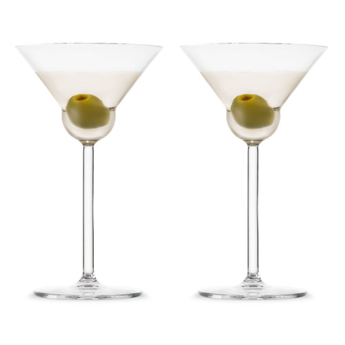 Nude Glass Vintage Rounded Crystal Martini Glasses - 6.42 oz - Set of 2