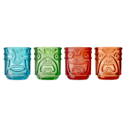 Tiki Gods Stackable Colored Glass Tumblers - 12 oz - Set of 4