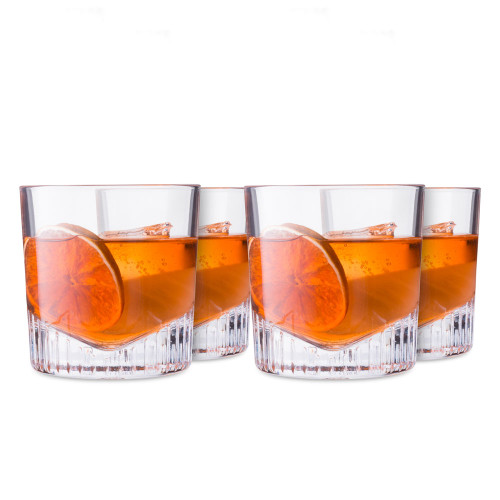 Nude Glass Caldera Crystal Double Old Fashioned Whiskey Rocks Glasses - 11 oz - Set of 4