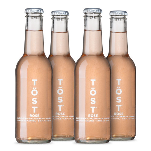 TOST Rosé Sparkling Non-Alcoholic Beverage - All Natural - 250ml - 4-Pack