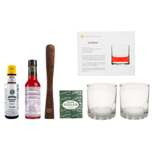 Sazerac Cocktail Gift Set - Includes Recipe Card, Ingredients, 2 Rocks Glasses & Muddler
