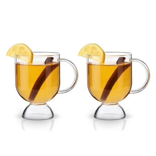 Viski Hot Toddy Warm Cocktail Footed Glass Mugs - 12 oz - Set of 2