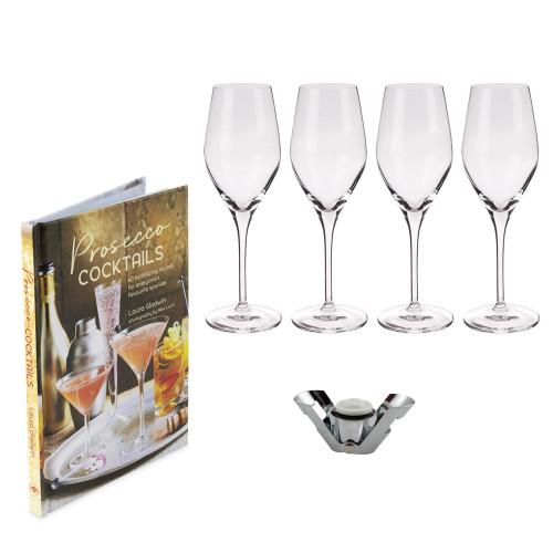 Prosecco Lovers Gift Set - Includes 4 Spiegelau Glasses, Recipe Book & Bottle Stopper