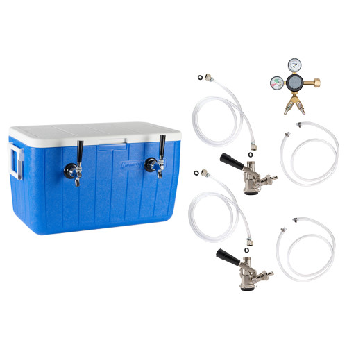 Double Faucet Jockey Box - 50' Coils - Complete Kit Without CO2 Tank