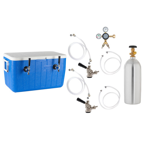 Double Faucet Jockey Box - 70' Coils - Complete Kit