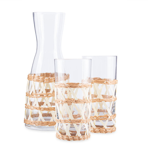 Amanda Lindroth Woven White Island Raffia Wrapped Carafe & Cooler Glass Set - 3 Pieces