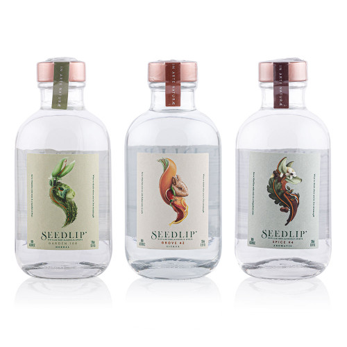 Seedlip Distilled Non-Alcoholic Spirits Triple Sampler Pack - 200ml Bottles of Grove 42, Spice 94, & Garden 108