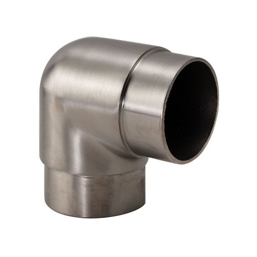 "Flush Elbow Fitting 90 Degree - Brushed Stainless Steel- 1.5"" OD"