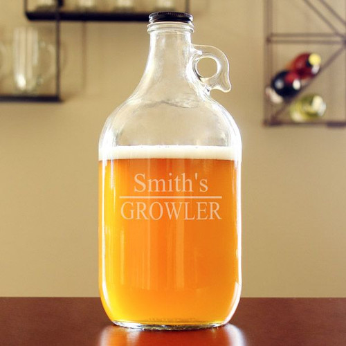 Personalized Glass Beer Growler - With Name - 64 oz
