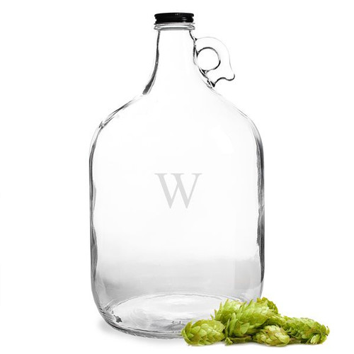 Personalized Clear Glass Beer Growler Jug - Single Initial - 1 Gallon